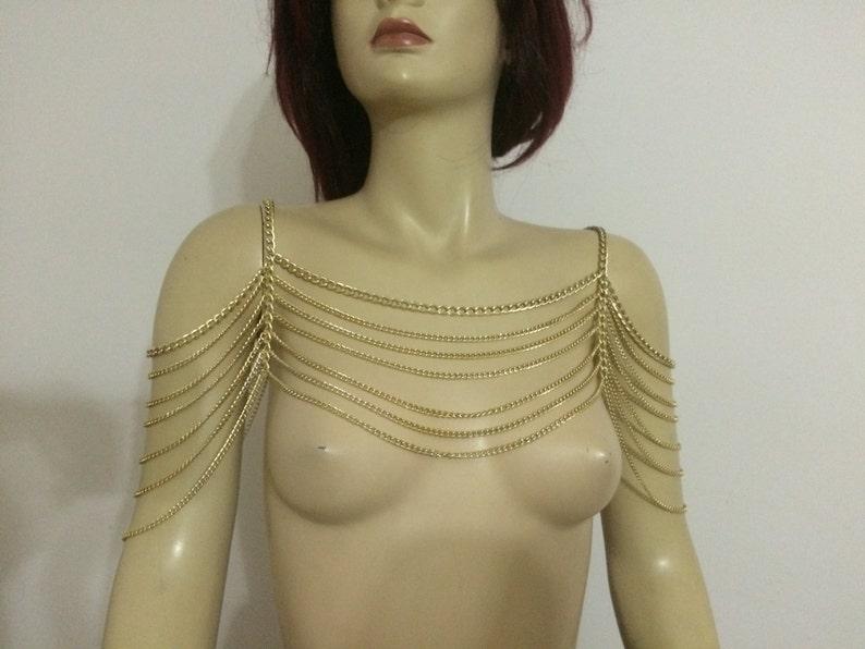 shoulder necklace body necklace body harness, Gold shoulder chain