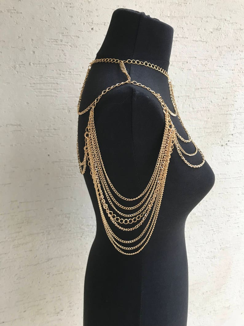 Rose gold shoulder necklace body jewelry, body chain