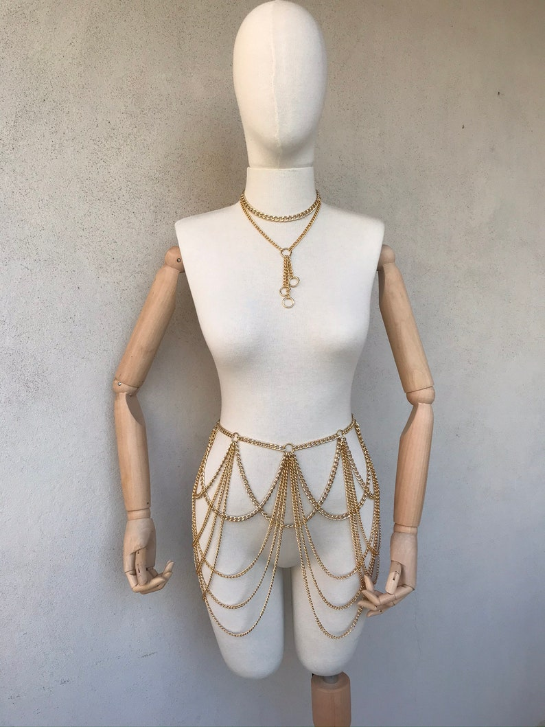 Bodychain Rave outfit set bra and chain skirt