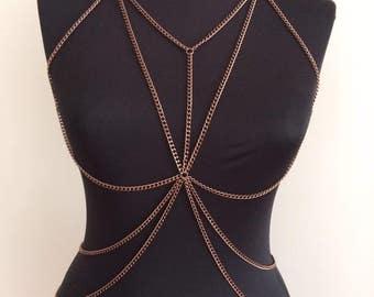 Antique -copper , body chain , body jewelry, Body Harness, body chain , layered body chain