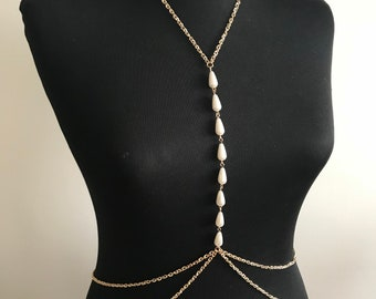 Rose gold body necklace, drop pearl necklace, chain necklace, body jewelry, body chain ,