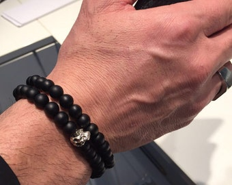 Men's Strength Matte Black Onyx Gemstone / mens bracelet /two baracelet / beaded bracelet / strech bracelet