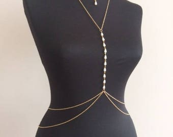 Gold Pearl Body Chain , Bikini Jewelry,Body Chain , Body Jewelry, Belly Chain,  Body Necklace mk2017-2