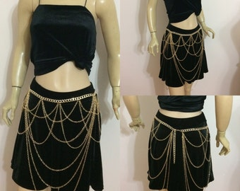 gold chain skirt , belly dance, body jewelry, fashion jewelry, shoulder jewelry,