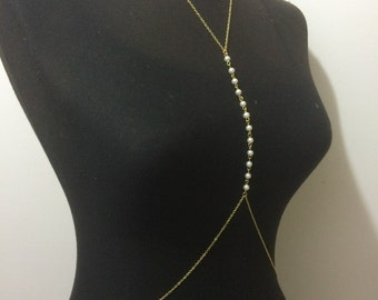Gold body chain, pearl body chain, body jewelry