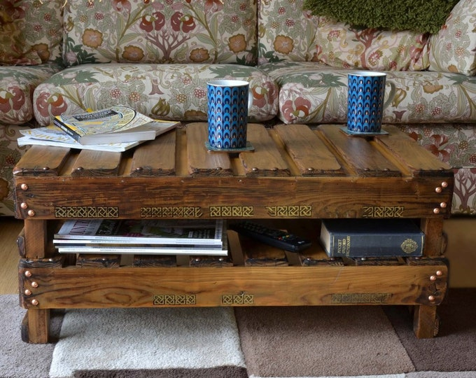 Celtic Reclaimed Wood Coffee Table Medium Oak Stain with Hand Painted King Solomon's Knot & Handy Under Shelf Storage Made to Order