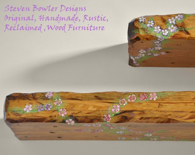 2 ft Bespoke Country Cottage Rustic Reclaimed Wood Floating Shelf Warm Light Oak Stain with Cottage Flower Design Fixings Supplied