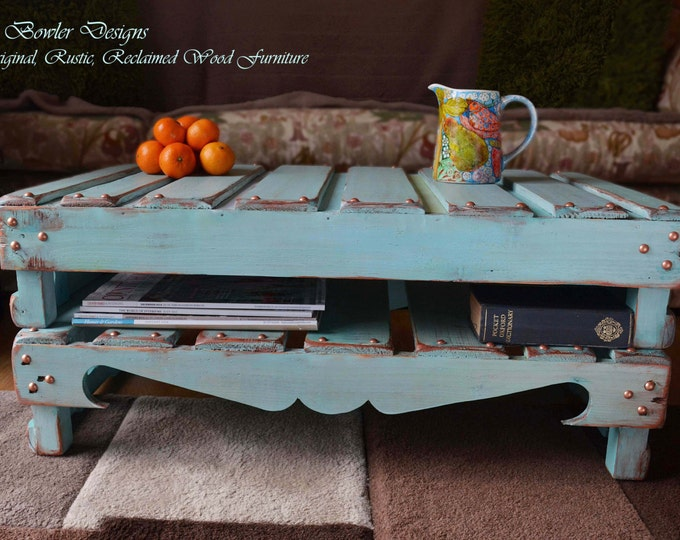 FREE UK SHIPPING Bespoke Country Cottage Rustic Reclaimed Wood Coffee Table Duck Egg Blue Copper Edging & Tacks Handy Under Shelf Storage