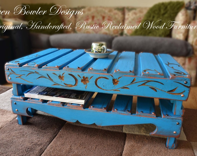 Bespoke Country Cottage Rustic Reclaimed Wood Carved Coffee Table Mediterranean Blue Bronze Tacks & Under Shelf Storage Handcrafted to Order