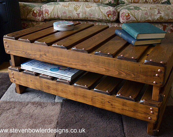 Bespoke Country Cottage Rustic Reclaimed Wood Coffee Table Medium Oak Stain & Copper Tacks with Handy Storage Shelf  Handmade to Order