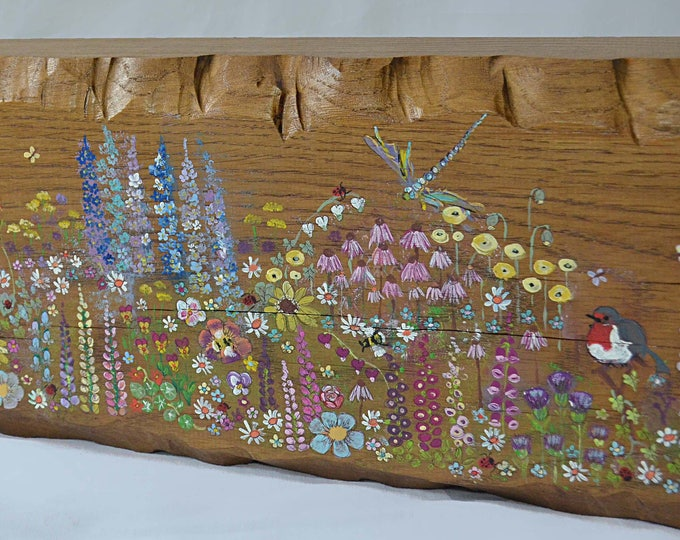 FREE UK SHIPPING Rustic Reclaimed Wood Oak Mantlepiece with Decorative Edging & Individually Hand Painted Country Cottage Flower Design