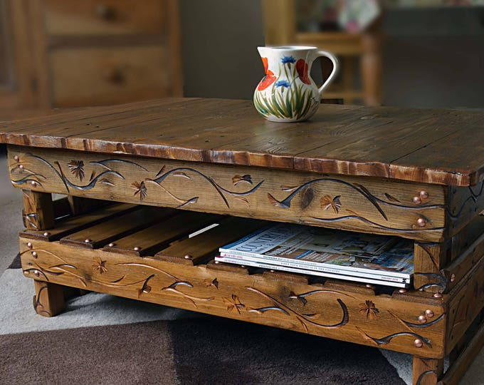 FREE UK SHIPPING Bespoke Country Cottage Style Rustic Reclaimed Wood Coffee Table with Decorative Carving & Handy Under Shelf Storage