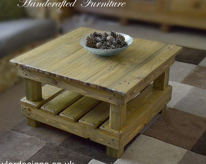 Square Country Cottage Rustic Reclaimed Wood Coffee Table Natural Oak Stain Decorative Dark Bronze Tacks & Under Shelf Storage 80 cm x 80 cm