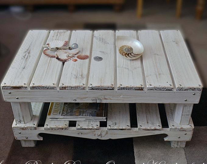 FREE UK SHIPPING Bespoke Coastal Cottage Coffee Table Driftwood Effect Finish Under Shelf Storage & Decorative Silver Tacks Made to Order