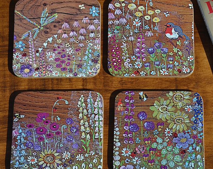 IN STOCK 4 Individual Bespoke Coffee Table Coasters Printed with our Hand Painted Country Cottage Garden Design