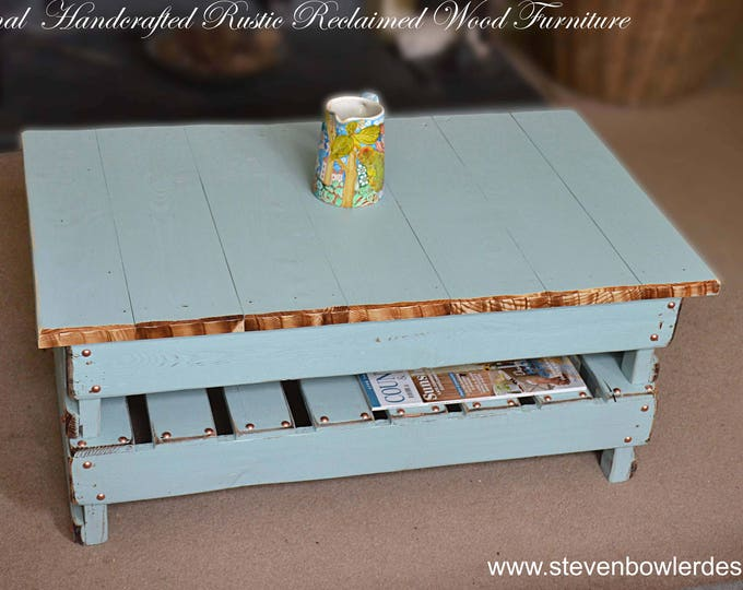 Bespoke Country Cottage Reclaimed Wood Coffee Table Duck Egg Blue with Natural Wood Edging, Decorative Copper Tacks & Handy Storage Shelf
