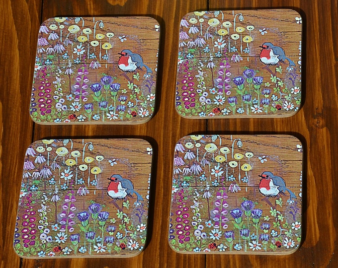 Coffee Table Drinks Coasters Set of 4 Printed with Our Unique Hand Painted Cottage Garden Robin Design in a Glossy Finish