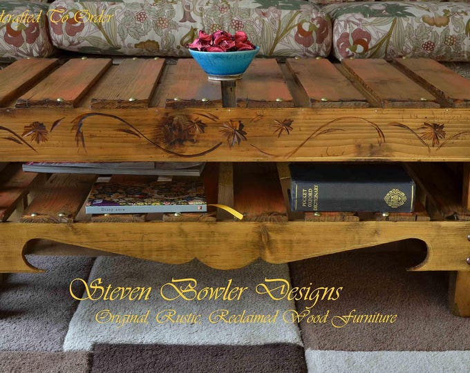 Original Bespoke Rustic Reclaimed Wood Coffee Table in Medium Oak Stain & Burnt Orange Autumn Gold Highlights and Under Shelf Storage