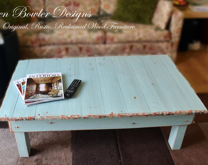 FREE UK SHIPPING Country Cottage Rustic Reclaimed Wood Coffee Table Duck Egg Blue with Copper Tacks & Rustic Copper Edging Handmade to Order