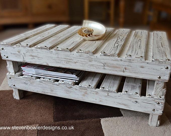 Bespoke White Coastal Style Coffee Table with Driftwood Effect Finish Decorative Silver Tacks  & Handy Undershelf Storage