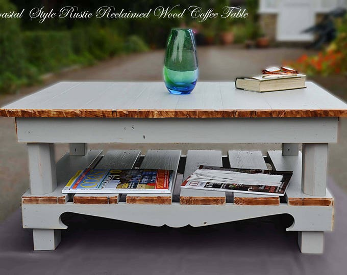 Bespoke Coastal Style Reclaimed Wood Coffee Table 90cm L x 64 cm W x 40 cm H in Pebble Grey with Natural Wood Edging