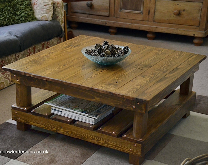 FREE UK SHIPPING Bespoke Country Cottage Reclaimed Wood Rustic Coffee Table Medium Oak Stain Undershelf Storage & Decorative Copper Tacks