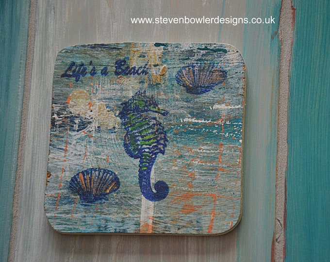 Set of 4 Contemporary Nautical Coffee Table Coasters with Seahorse Starfish and Shell Design Each Wood Coaster is Individually Handmade