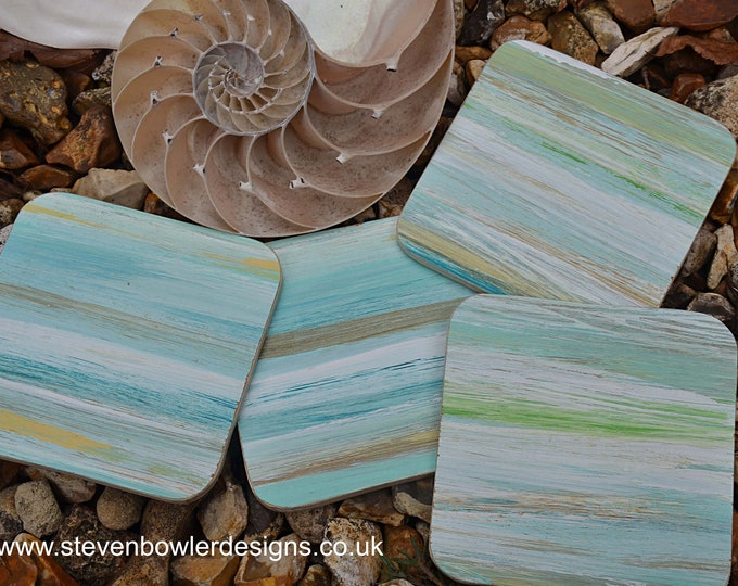 4 Handcrafted Beach Style Coffee Table Natural Wood Coasters Hand Painted in Multicoloured Stripey Coastal Design FREE UK SHIPPING