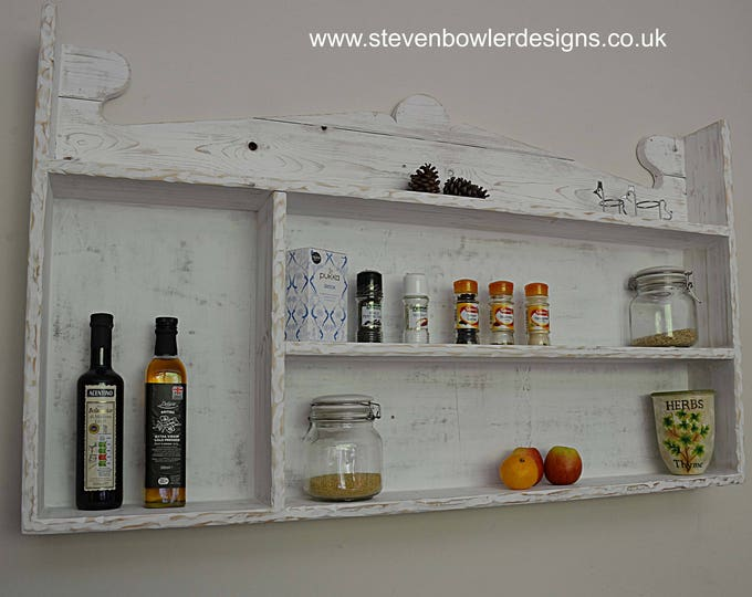 Bespoke Coastal Cottage Reclaimed Wood Kitchen Shelving Unit with Decorative Rustic Edging & Driftwood Effect Finish Handcrafted To Order