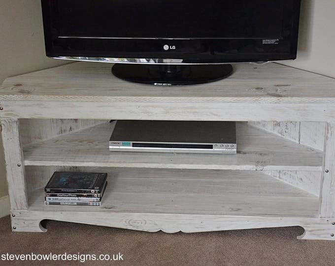 Bespoke White Coastal Reclaimed Wood Corner TV Unit in Driftwood Effect Finish & Silver Tacks 110 cm x 45 cm x 50 cm and Media Console Shelf