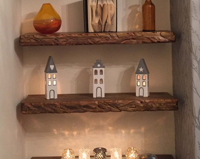 CUSTOM ORDER for Aaron & Julia for 2 x 1ft, 1 x 3ft and 1 x 4ft Country Cottage Dark Oak Stain Floating Shelves with Fixings Supplied