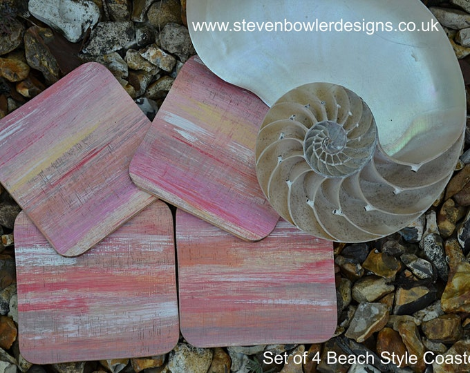 Reclaimed Wood Coffee Table Coasters Individually Hand Painted in our Stripey Seascape Design Set of 4