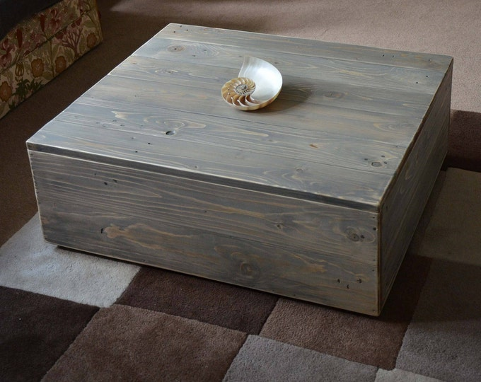 FREE UK SHIPPING Bespoke Rustic Reclaimed Wood Coffee Table in our Coastal Grey Wash Finish with Lift Off Lid for Hidden Storage Capacity