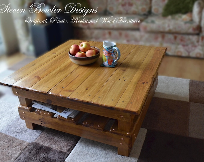 FREE UK SHIPPING Bespoke Country Cottage Rustic Reclaimed Wood Coffee Table Light Oak Stain Decorative Copper Tacks & Under Shelf Storage