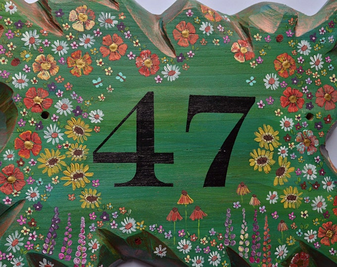 Bespoke Country Cottage Garden Rustic Wall Mounted Hand Painted House Number Sign with Ladybirds, Cottage Flowers, and Butterflies