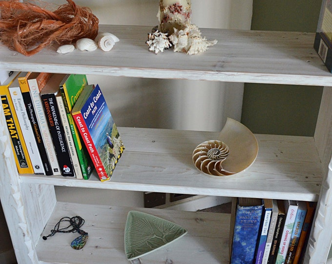 Bespoke Rustic Reclaimed Wood White Coastal Bookcase with Driftwood Effect Finish Handcrafted to Order