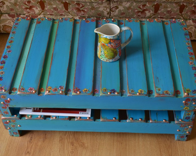Bespoke Country Cottage Rustic Reclaimed Wood Turquoise Blue Coffee Table with Hand Painted Cottage Flower & Ivy + Handy Undershelf Storage