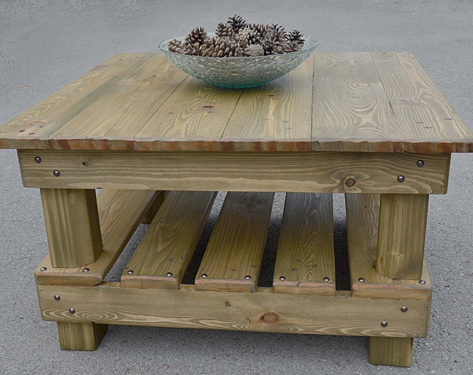 Bespoke Country Cottage Rustic Reclaimed Wood Coffee Table Light Natural Oak Stain Decorative Dark Bronze Tacks & Under Shelf Storage