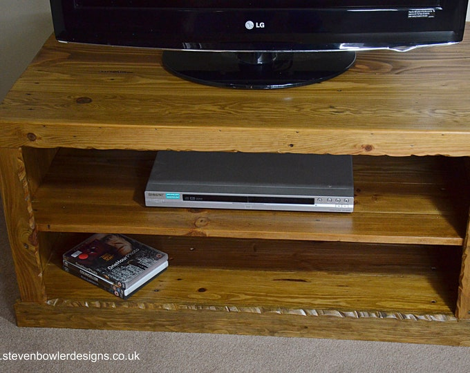 Bespoke Rustic Country Cottage Reclaimed Wood TV Unit in Light Oak Stain with Rustic Edging and Media Storage Shelf Handmade to Order