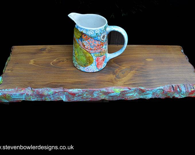 IN STOCK 1 x Bespoke Floating Shelf Medium Oak Stain with Multi Coloured Boatwood Style Edging 54 cm L x 19.5 cm W x 4.5 cm D