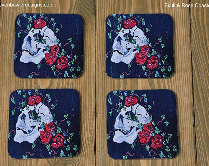 Coffee Table Coasters Printed with Our Original Hand Painted Gothic Skull, Rose & Ivy Leaf Design Set of 4 in a Gloss Finish