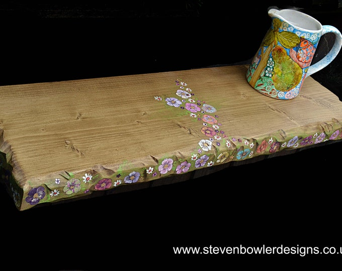 2 ft Bespoke Country Cottage Rustic Reclaimed Wood Floating Shelf Medium Oak Stain with Hand Painted Cottage Flower Design Fixings Supplied