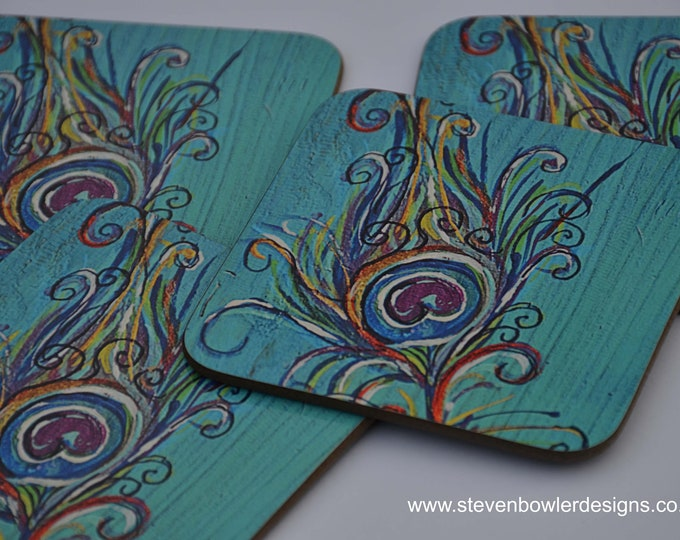IN STOCK 4 Beautiful Turquoise Blue Coffee Table Coasters Printed with our Unique Hand Painted Peacock Feather Design
