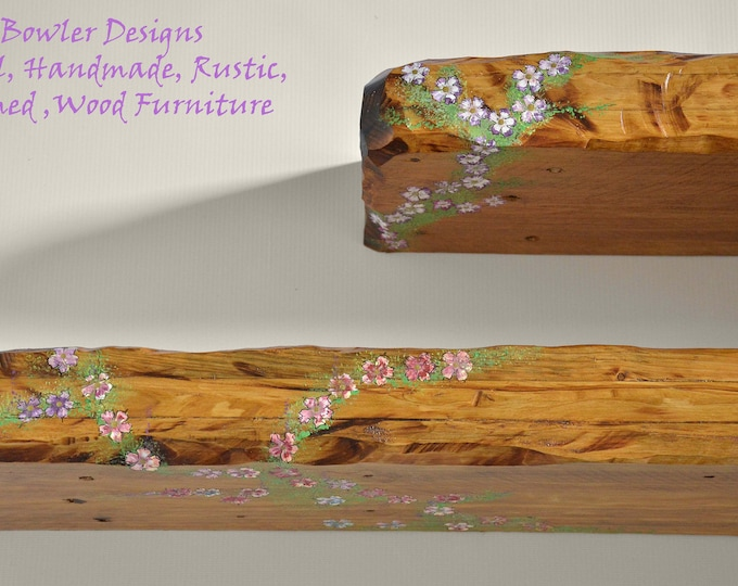 CUSTOM ORDER for Shawna for 5 x 2ft Rustic Floating Shelves Indigo Blue, Jade, Medium Oak and Baby Blue with Country Cottage Flowers