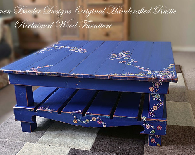 Unique Rustic Country Cottage Coffee Table Indigo Blue with Hand Painted Country Cottage Flower Design Undershelf Storage Made to Order