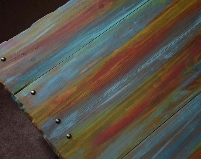 Multi Coloured Old Boat Wood Style Reclaimed Wood Coastal Coffee Table with Weathered Look Finish & Undershelf Storage Made to Order