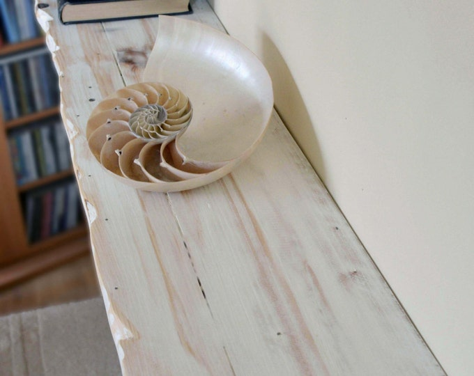 Bespoke Rustic Reclaimed Solid Wood Shelf in a White Nautical Beach Style Finish with Decorative Textured Edging