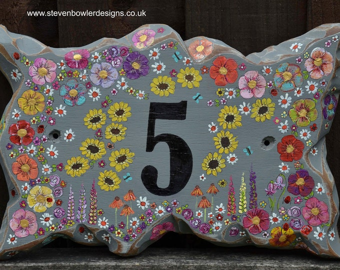 Original Country Cottage Garden Rustic Reclaimed Wood House Number Sign in Coastal Grey with Individually Hand Painted Flower Design