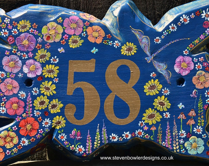 Unique Rustic Country Cottage House Number Sign Indigo Blue with Hand Painted Dragonfly & Country Cottage Flower Design Made to Order