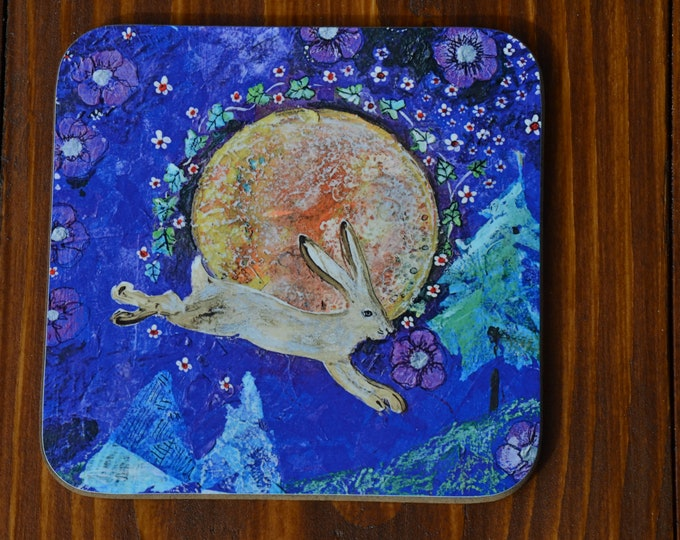 Unique Celtic Hare & Moon Coffee Table Coasters Printed with our Original Wiccan Pagan Artwork 'Constellation of Flowers' Design